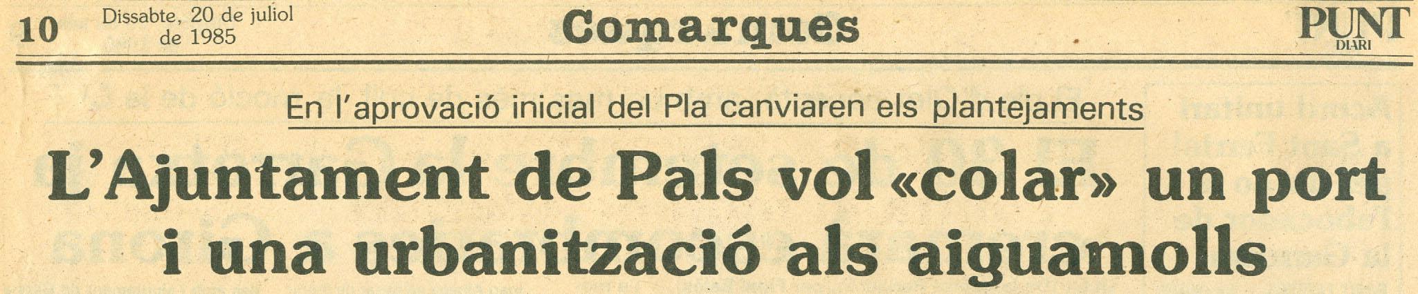 Punt-Diari, 20-7-1985